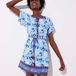 Loft Beach floral tie waist dress blue Size Medium
